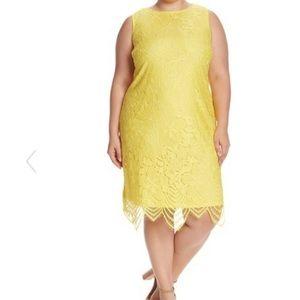 Sharagano yellow Scallop Lace Tank Dress size 20W